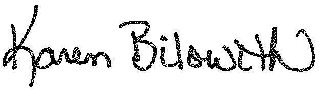 Karen Bilowith signature
