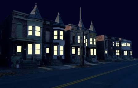 Breathing Lights houses at night